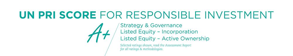 A+ UN PRI Score for responsible investment